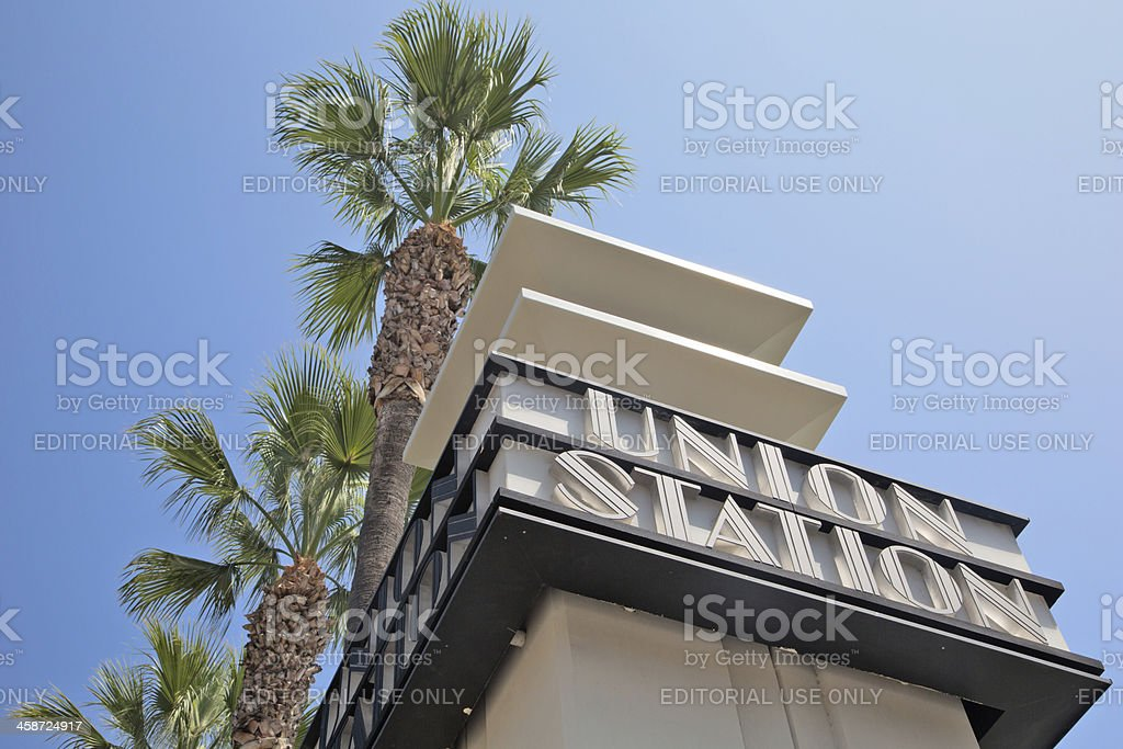 Union Station sign in LA stock photo