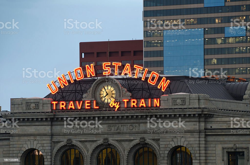 Union Station sign stock photo