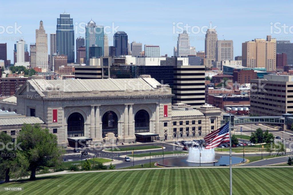 KC Union Station & Skyline royalty-free stock photo