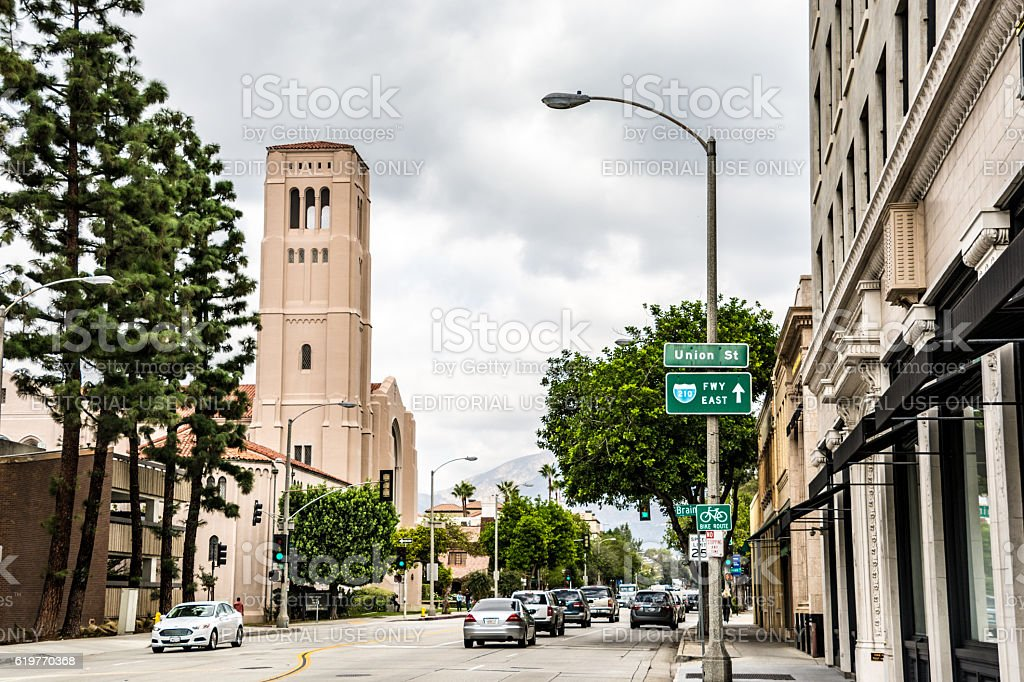 Union Street to First Baptist Church Pasadena - Los Angeles stock photo