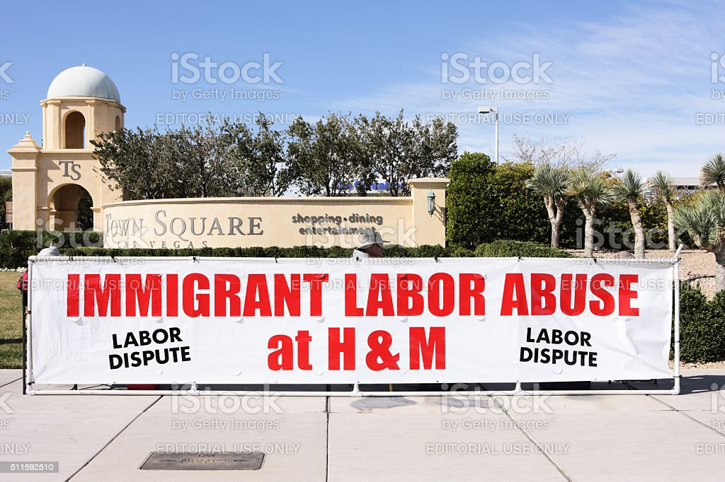Union Strike Immigrant Labor Worker Abuse stock photo