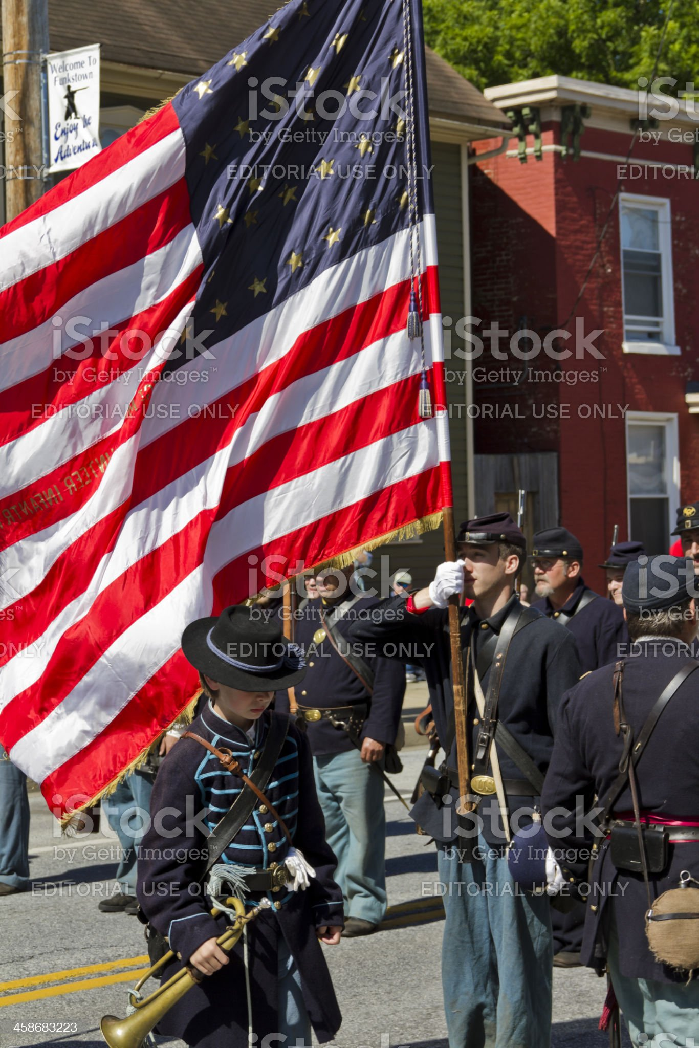 Union Troops Holding a Large American Flag In Battle royalty-free stock photo