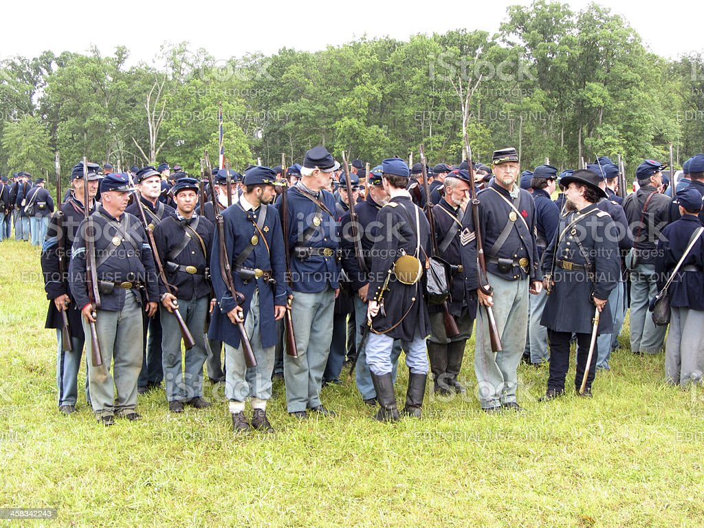 Union Troops Lining Up stock photo