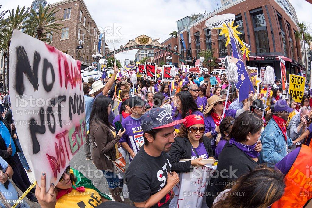 Union workers unite against Donald Trump stock photo