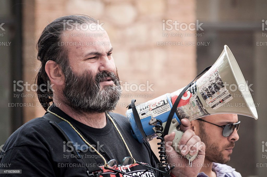 Unionist with megaphone royalty-free stock photo