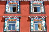 Unique architecture in the colorful windows