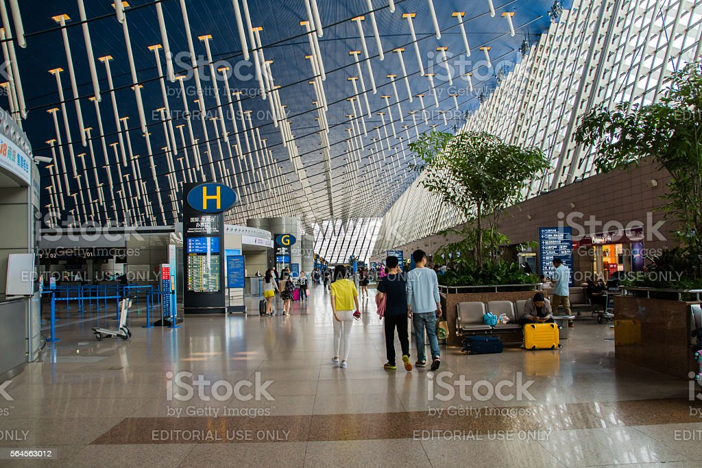 Unique arhchitecture inside Shanghai Pudong International Airport, China stock photo