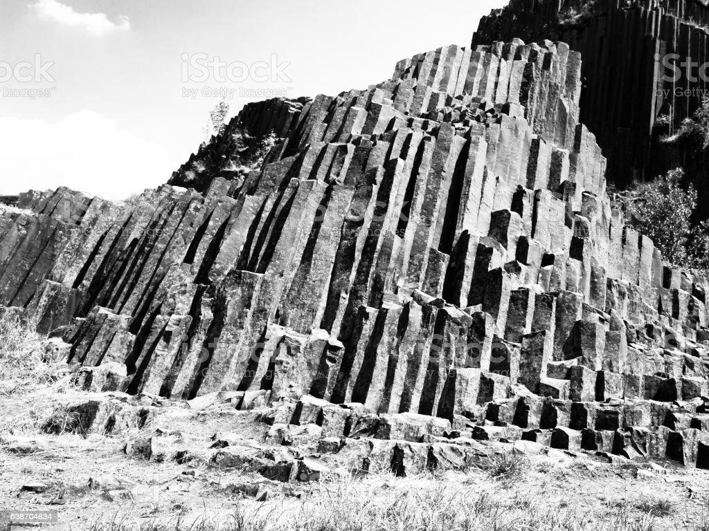 Unique basalt organ pipes of Panska skala near Kamenicky Senov stock photo