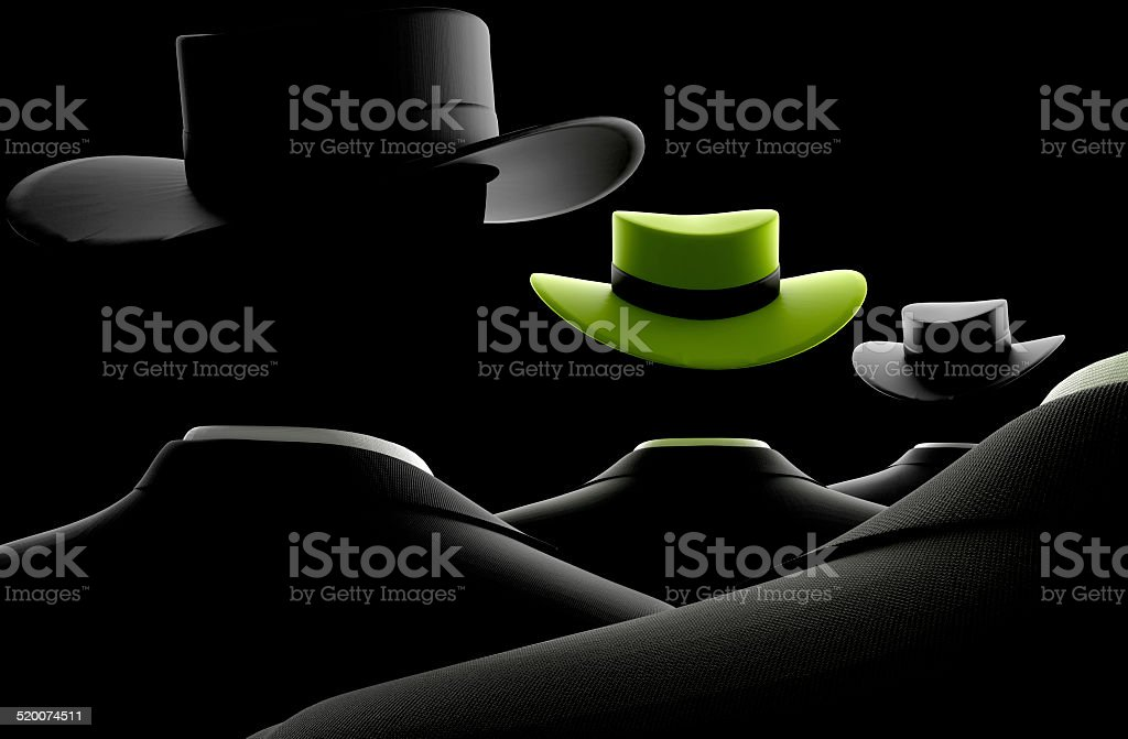 Unique Black Suited Man with Green Hat stock photo