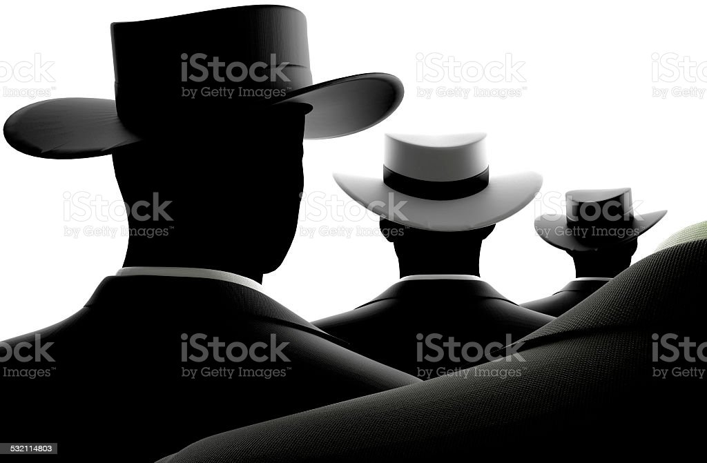 Unique Black Suited Man with white Hat stock photo