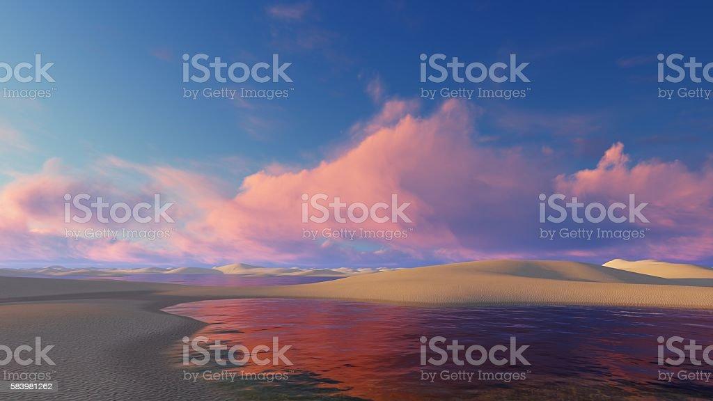 Unique Brazil desert at sunset stock photo