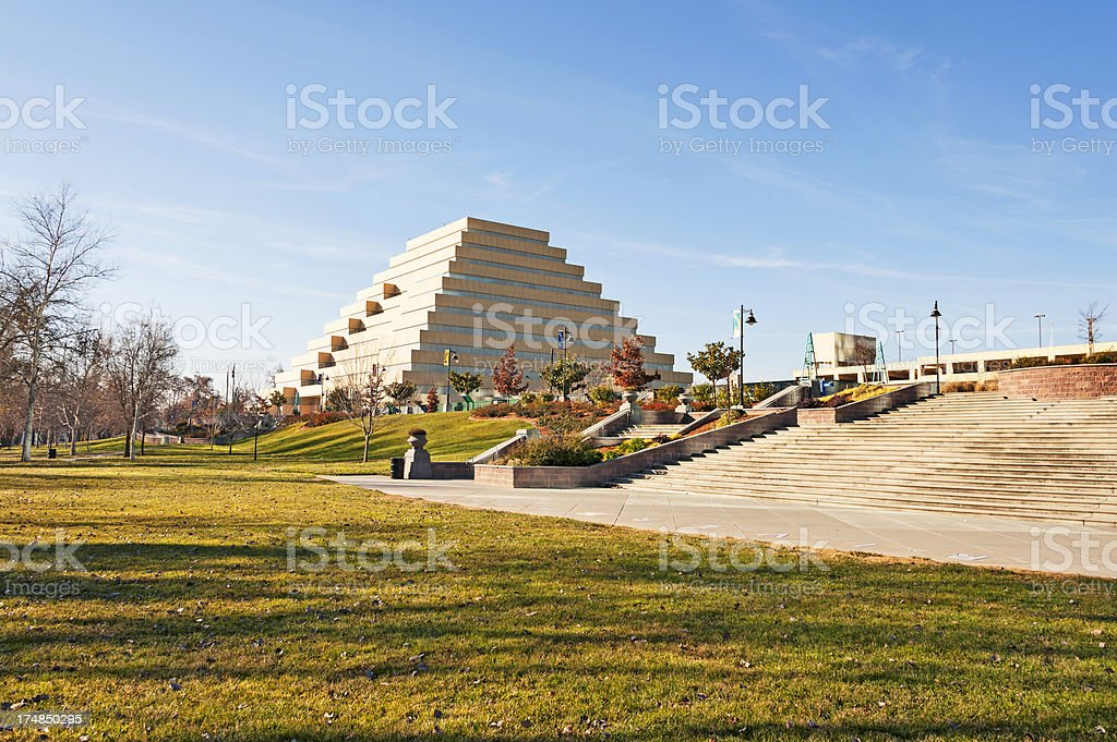 A unique building against the blue sky royalty-free stock photo