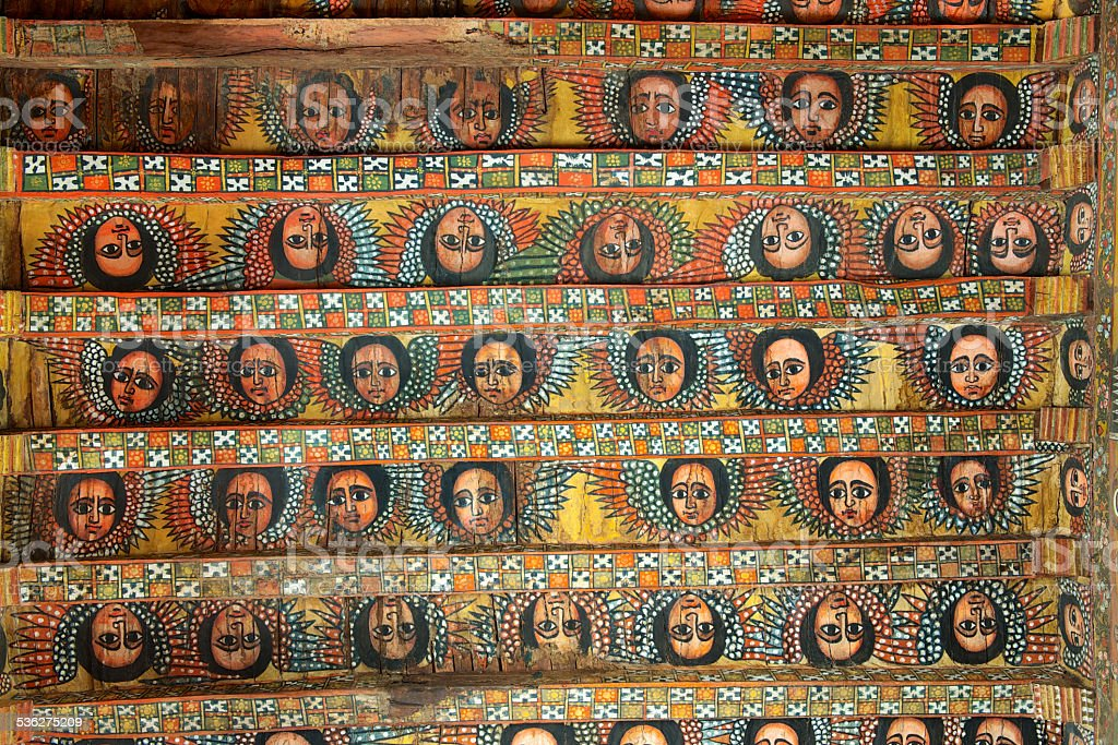 Unique ceiling paintings in Debre Birhan Selassie church, Gondar, Ethiopia. stock photo