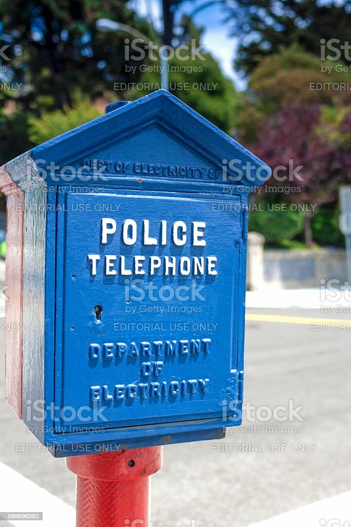 Unique Compartment for the Police Telephone in Blue Case stock photo