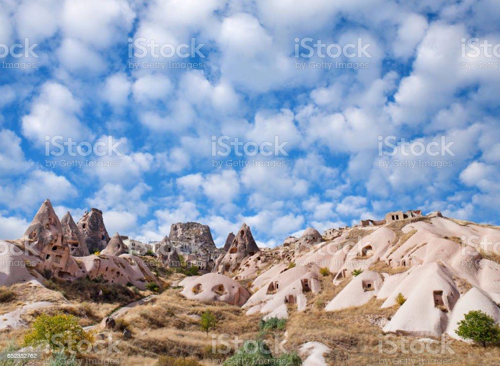 Unique geological formations in Cappadocia, Turkey stock photo