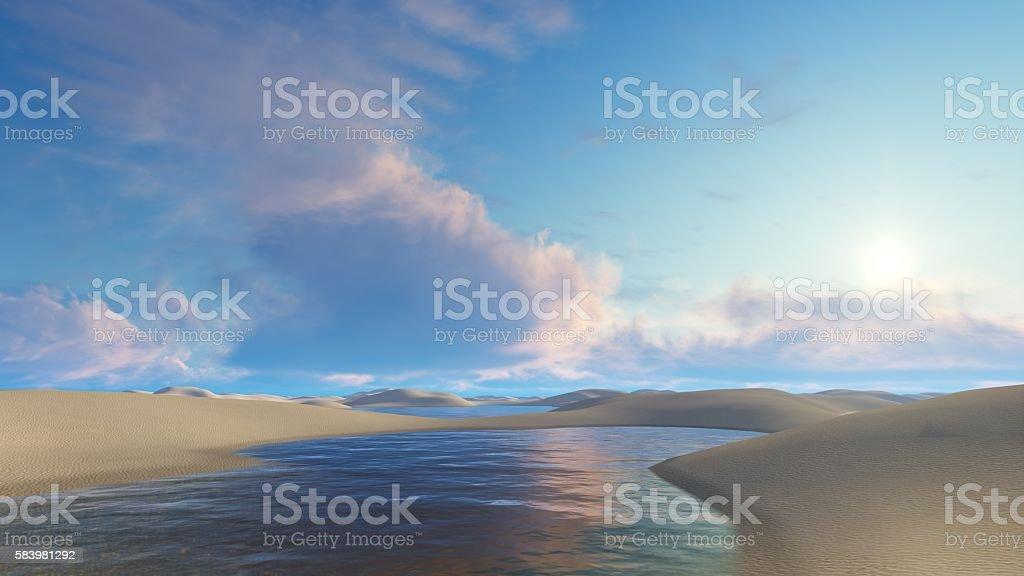 Unique lagoons among sand dunes in Brazil stock photo