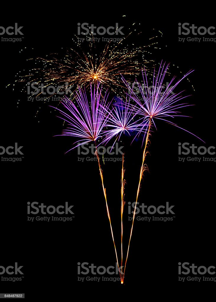 Unique palm tree fireworks against the night sky stock photo
