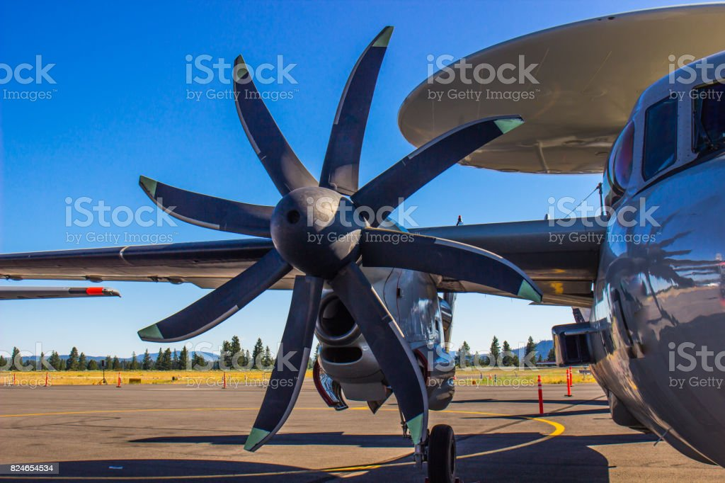 Unique Propeller On Airplane stock photo