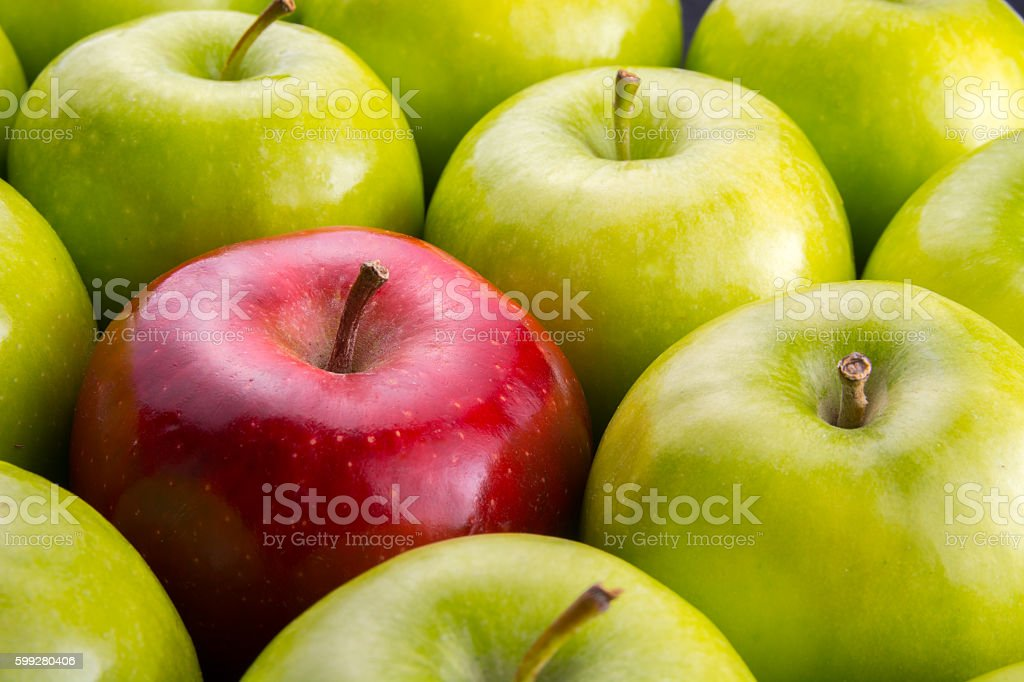 Unique. Red apple among group of green apples. stock photo