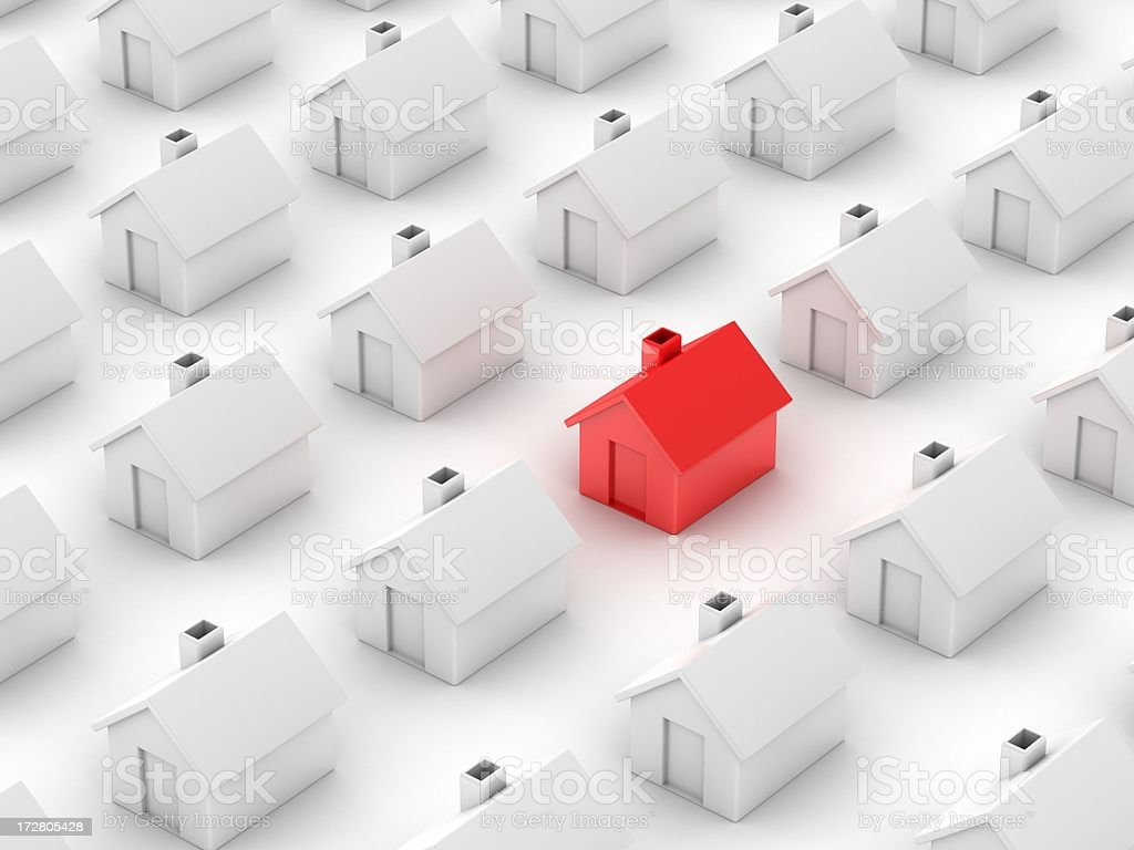unique red house stock photo