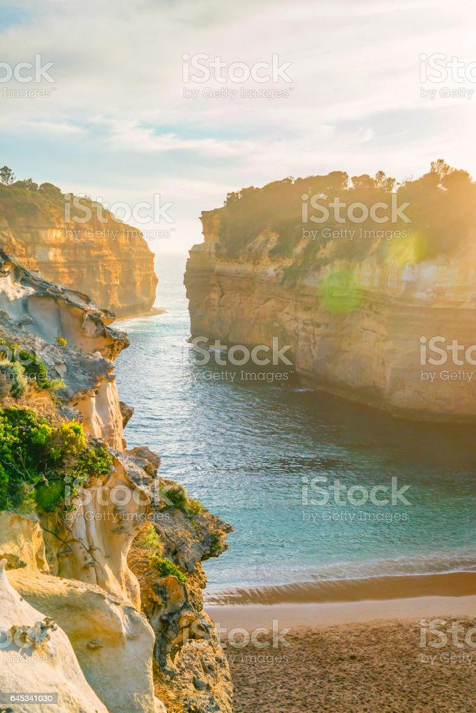 Unique Rock formation at a beach stock photo
