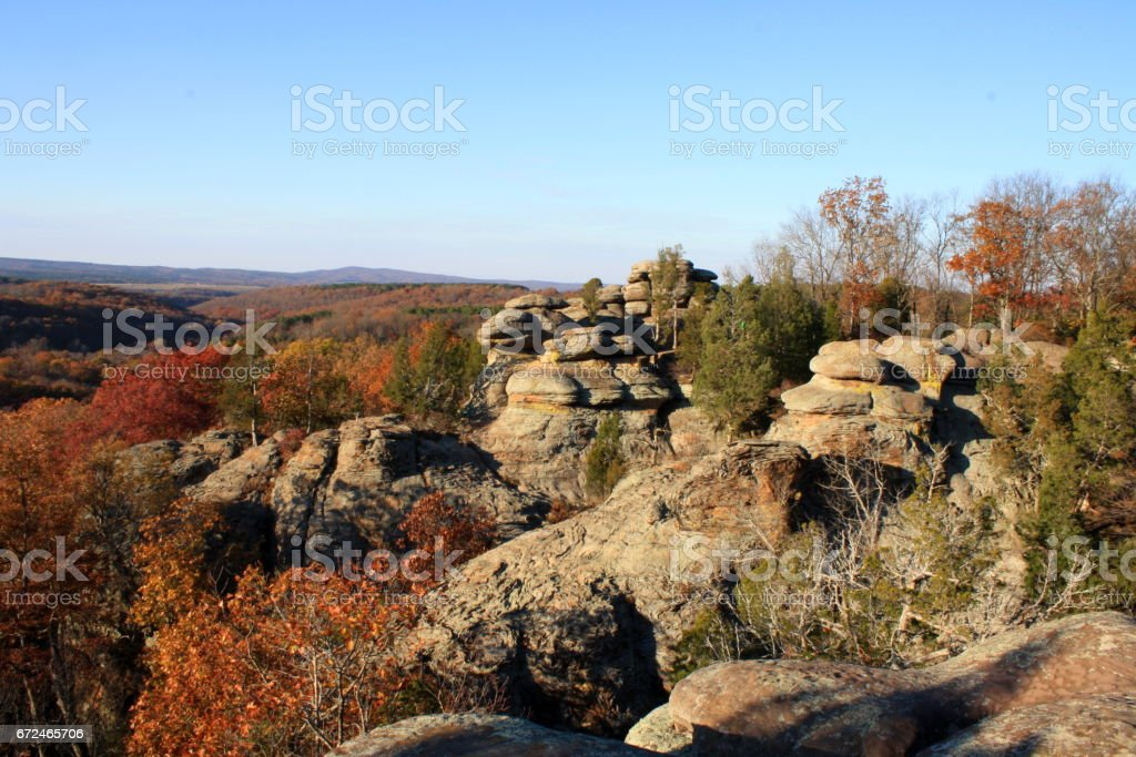 Unique Rock Formation with Fall Colors stock photo