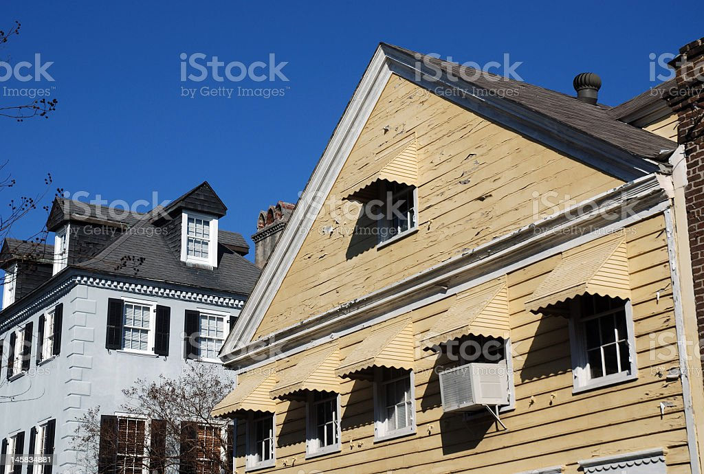 Unique Rooftops andPeeling Paint royalty-free stock photo