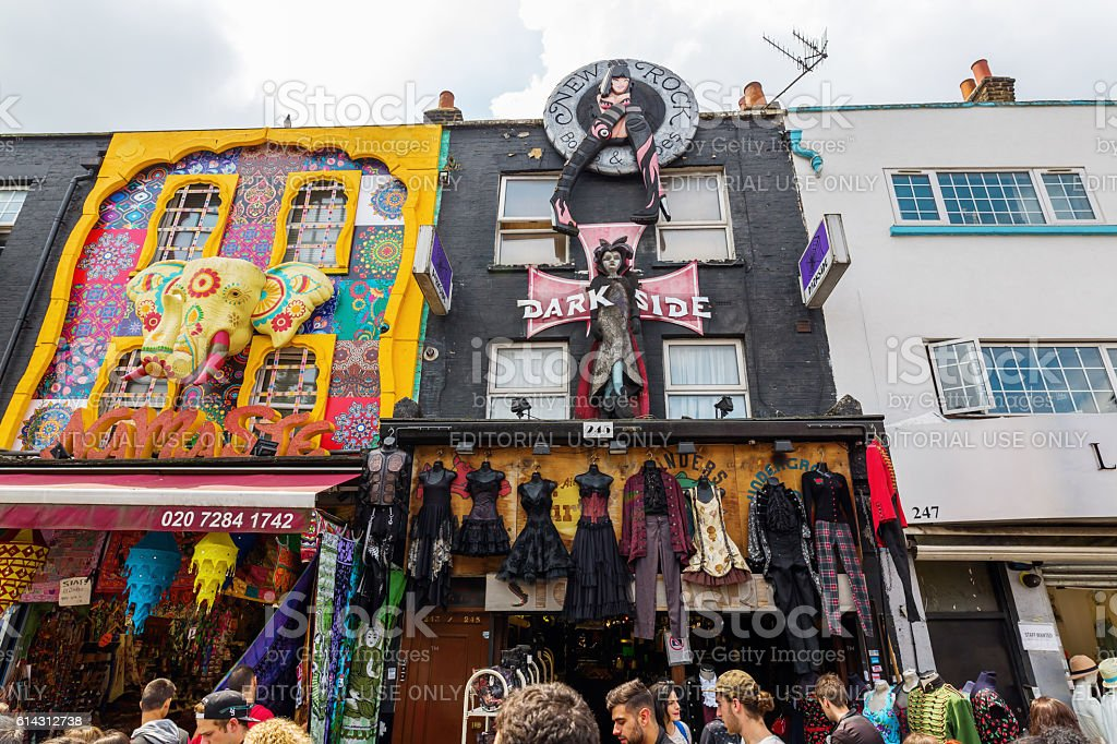 unique shopping street in Camden, London, UK stock photo