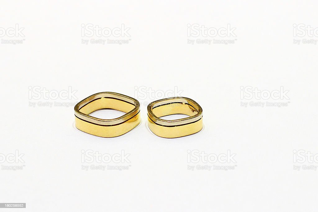 Unique square wedding rings royalty-free stock photo