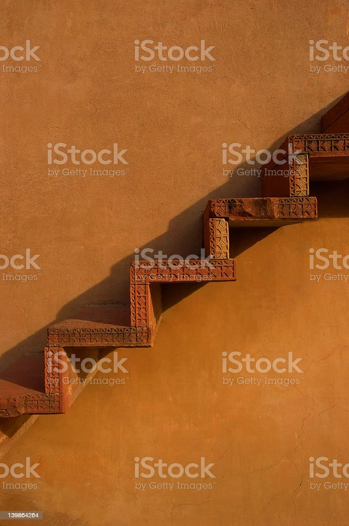 Unique stairway on wall royalty-free stock photo