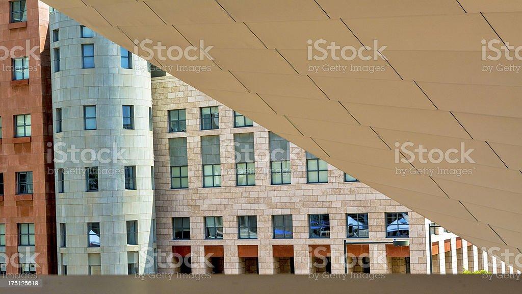 Unique view of buildings in Denver Colorado stock photo
