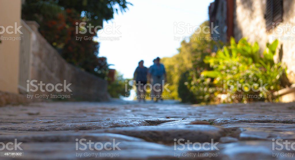 Unique view of the medieval cobblestone streets. stock photo