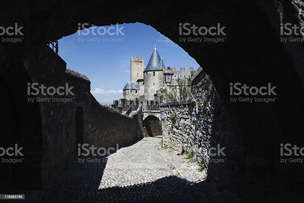 Unique view of Tower in Walled City Carcassonne, France stock photo
