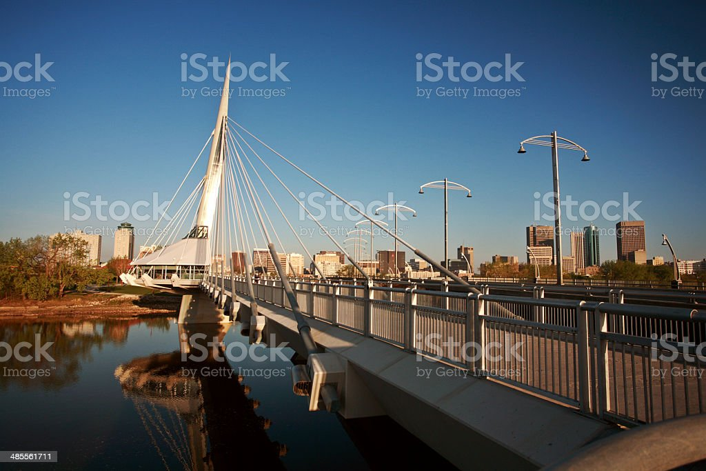 Unique walkway bridge over the Red River in Winnipeg stock photo
