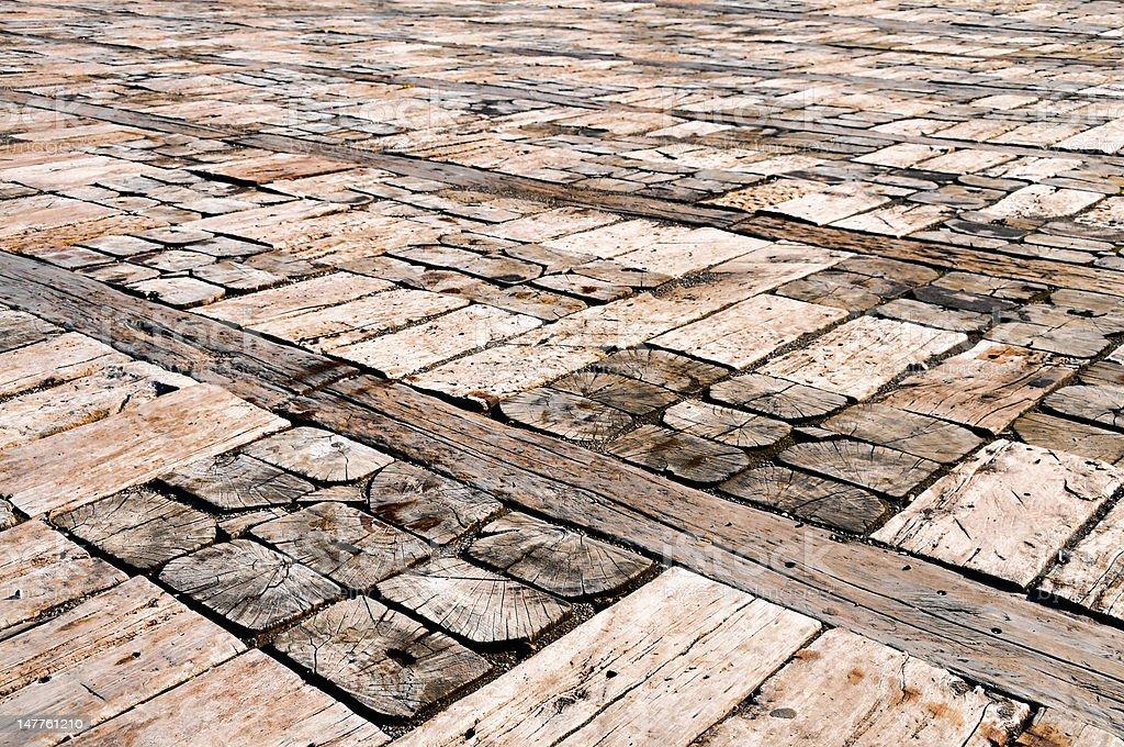 Unique wooden floor stock photo