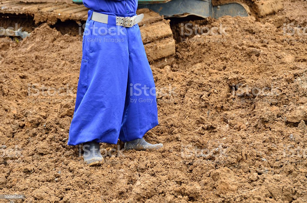 unique work pants in japan, work clothes of construction workers stock photo