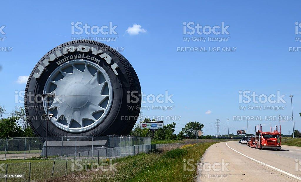 Uniroyal Giant Tire near Detroit, MI stock photo