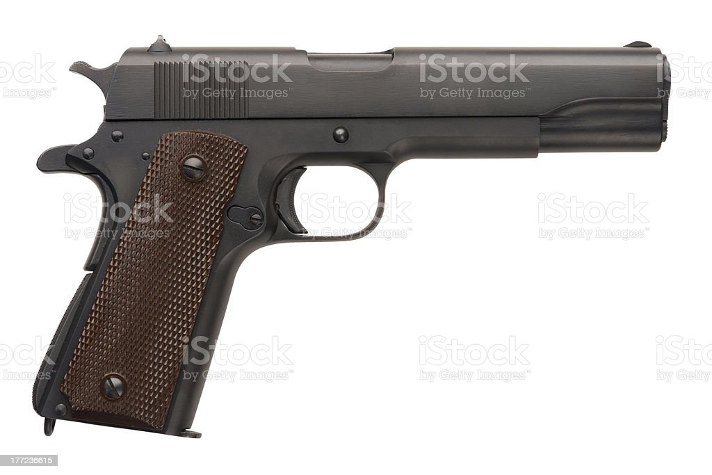 Unissued Military Pistol 1911A1 royalty-free stock photo