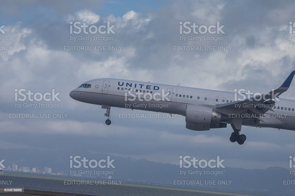 United Airline Airplane Landing to San Francisco Airport stock photo