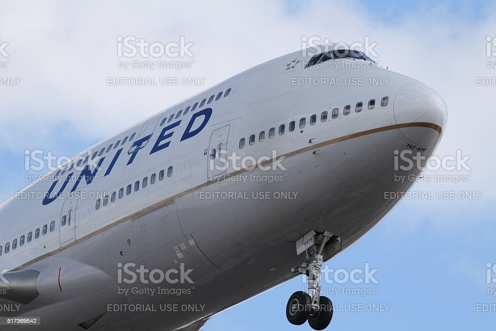 United Airlines 747-400 stock photo