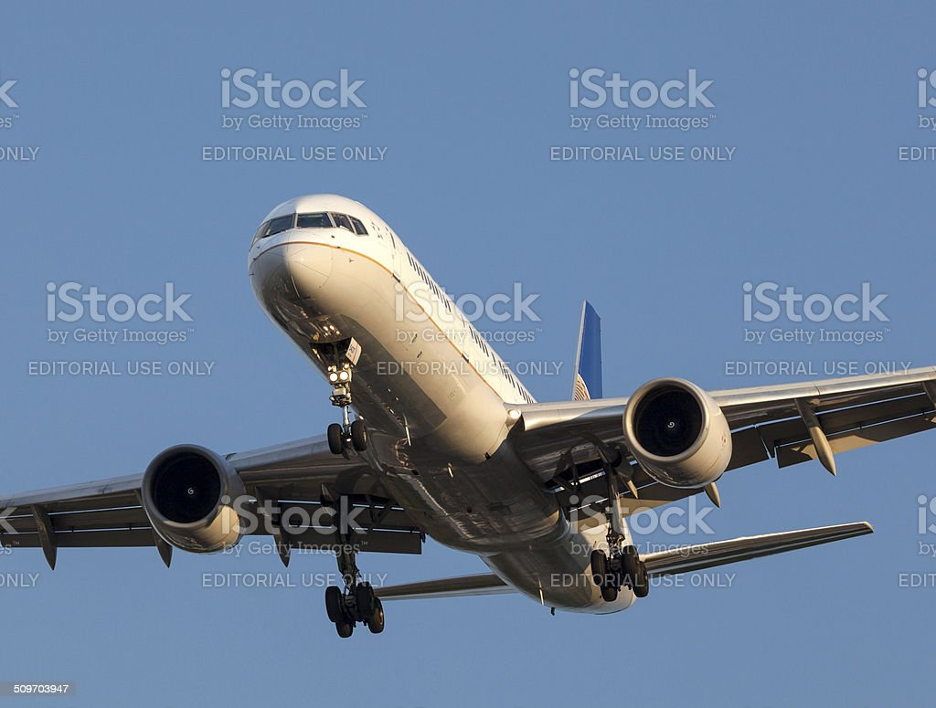 United Airlines 757. stock photo