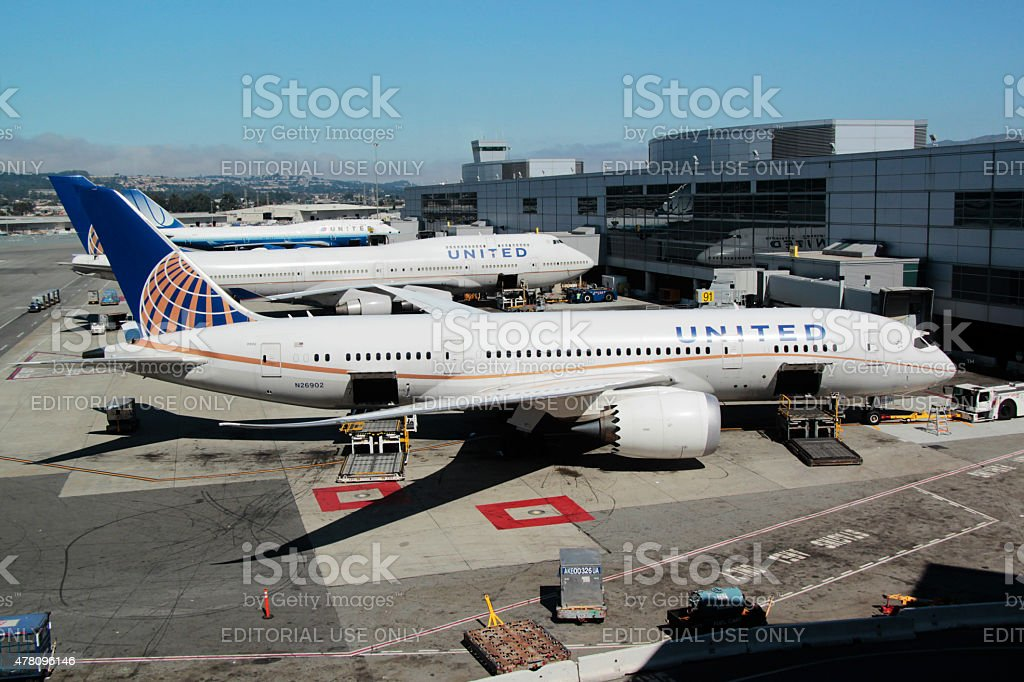 United Airlines Boeing 787 at San Francisco International Airport stock photo