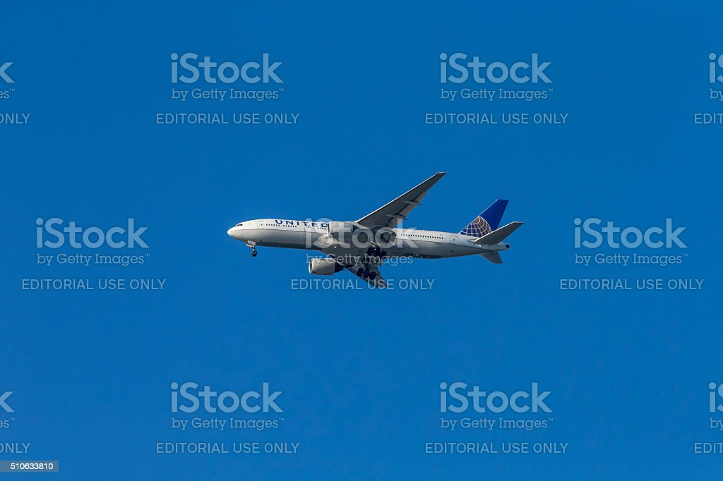 United Airlines Boeing take off from San Francisco Airport stock photo