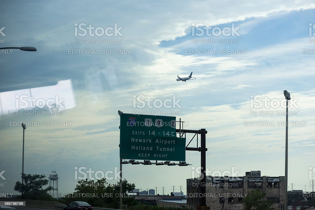 United Airlines plane landing at Newark airport stock photo