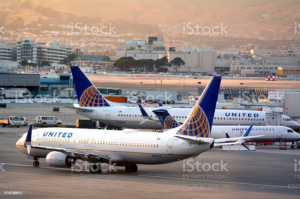 United Airlines planes in San Francisco International Airport stock photo
