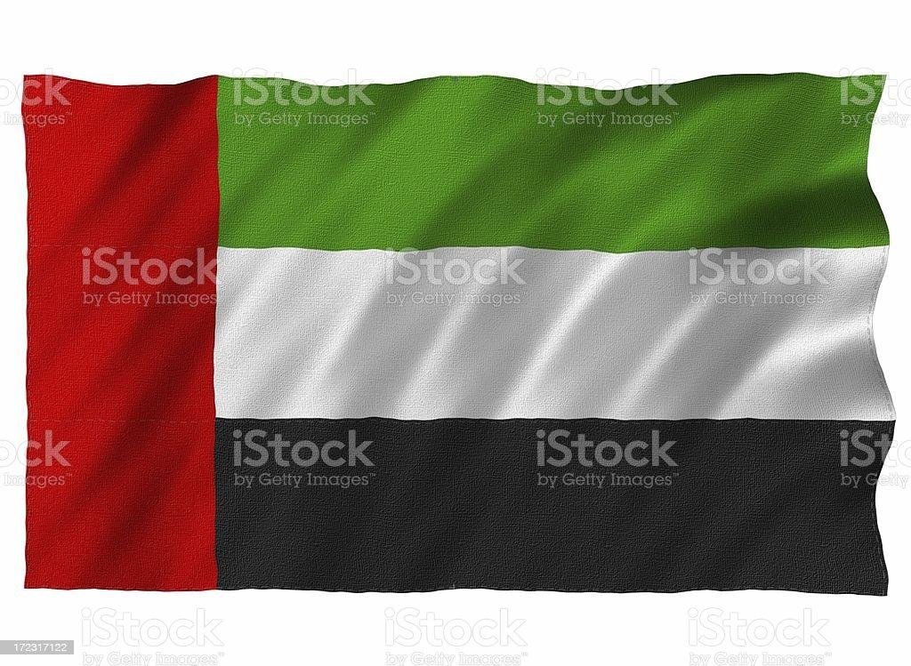 United Arab Emirates 3D flag on white royalty-free stock photo