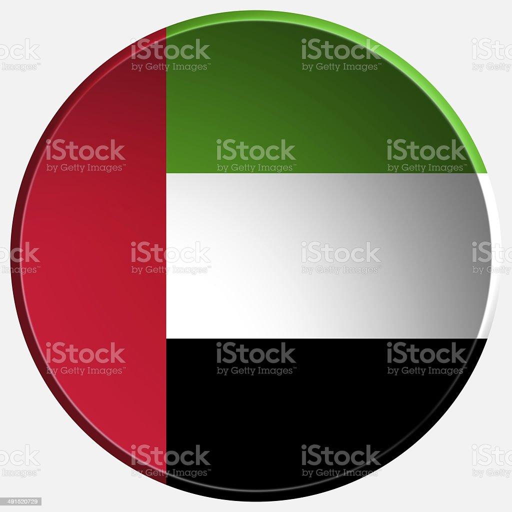 united arab emirates 3d round button stock photo