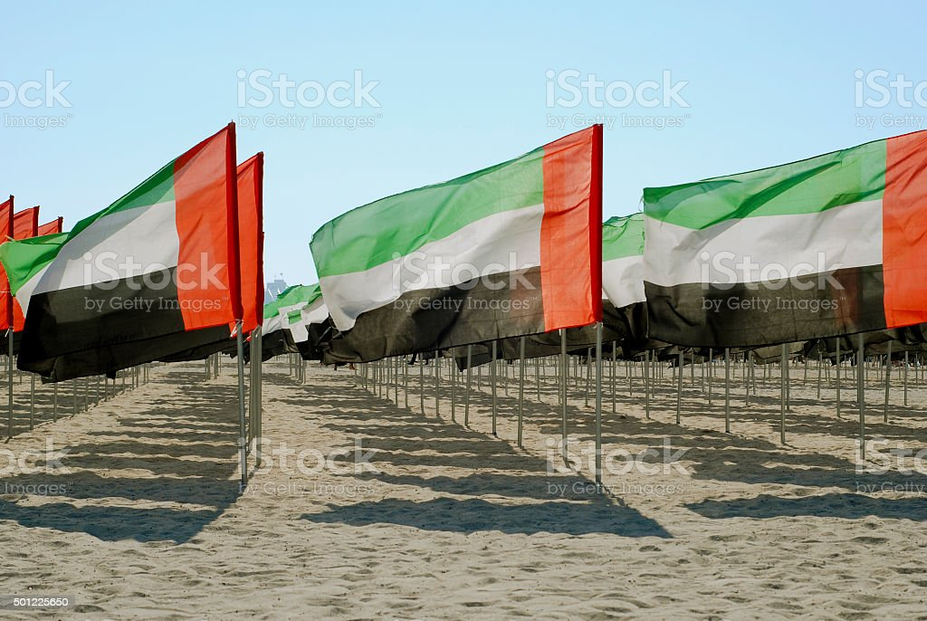 United Arab Emirates close-up flags view stock photo