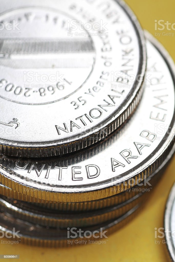 united arab emirates currency coins royalty-free stock photo