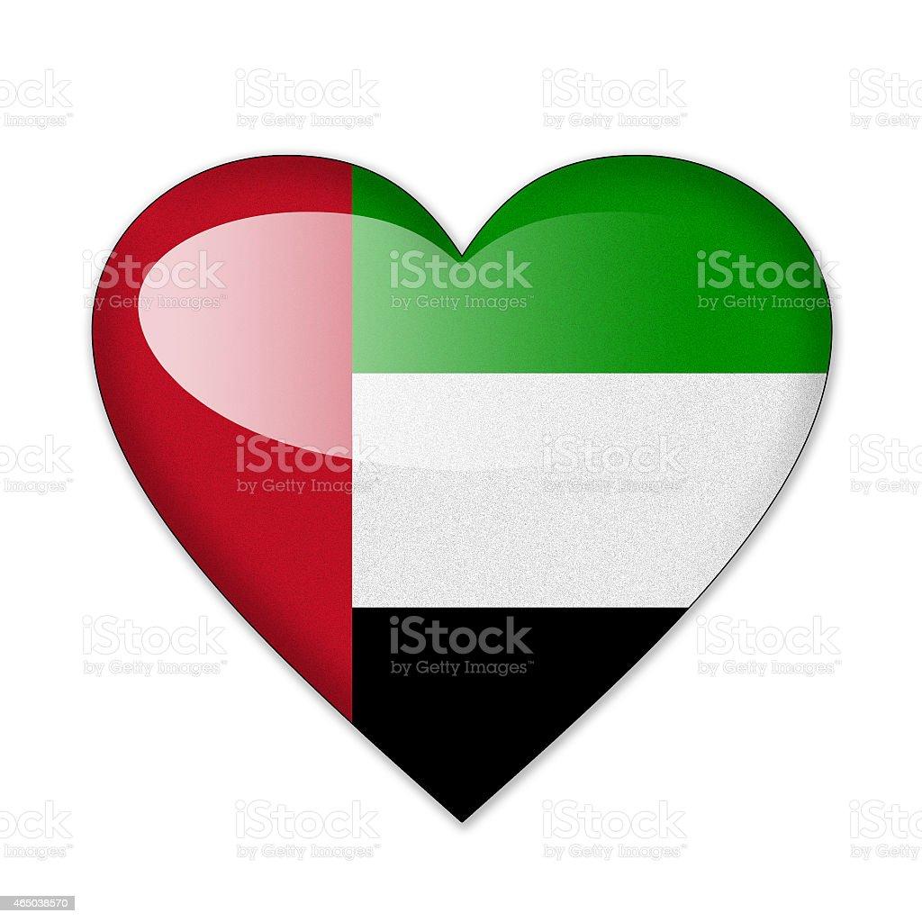 United Arab Emirates flag in heart shape isolated on white stock photo
